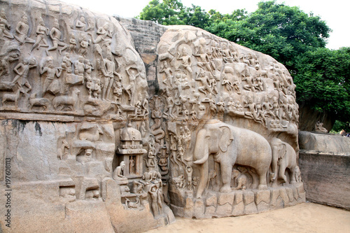 Arjuna´s Buße, Elefantenrelief, Mahabalipuram