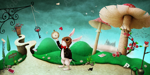 Fotobehang Turkoois Conceptual fantasy background for illustration or poster or photo wallpaper with story Wonderland