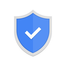 Blue Badge Icon With Shield And Check Mark. Modern Flat Vector Illustration.
