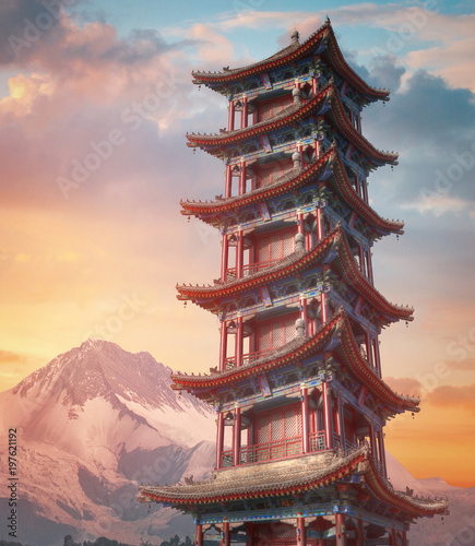 Fotografie, Obraz large pagoda of wild geese in Xi'an