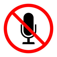 Simple, Flat Muted Microphone Sign/icon. Red, Black And White. Isolated On White
