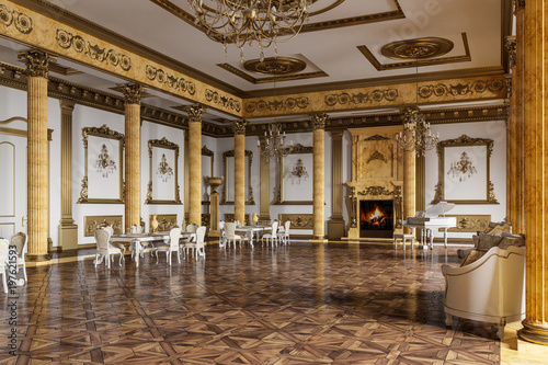Carta da parati The ballroom and restaurant in classic style. 3D render.