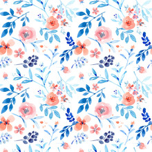 Nice Pink Floral Seamless Pattern With Blue Leaves