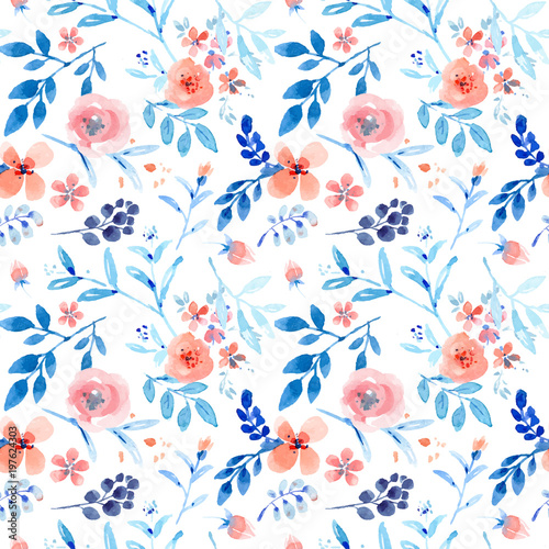 Photo Nice pink floral seamless pattern with blue leaves