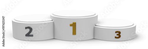 White cylinder wide podium