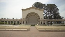 Plane Flying Behind The Spreckels Organ Pavilion