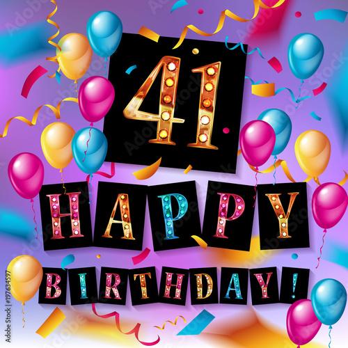 Poster  41th Happy Birthday card.