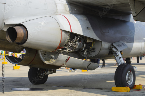 Foto op Canvas Militair Detail of exhaust of military aircraft