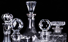 Crystal Glassware Isolated On Black
