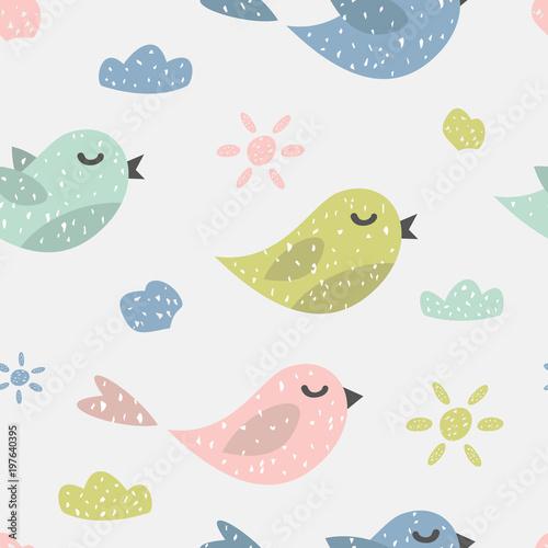 Materiał do szycia Dziecinna wzór z cute ptaków. Pomysłowych tekstur do tkanin