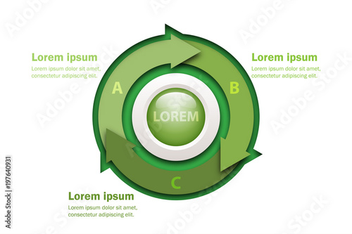 Fotografie, Tablou Three topics green arrow chart in paper cut style with marble circle in center f