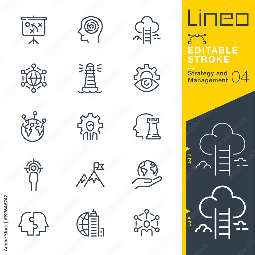 Fototapeta Lineo Editable Stroke - Strategy and Management outline icons