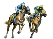 Watercolor Painting Horse Racing. Hand Drawn Illustration Isolated On White.