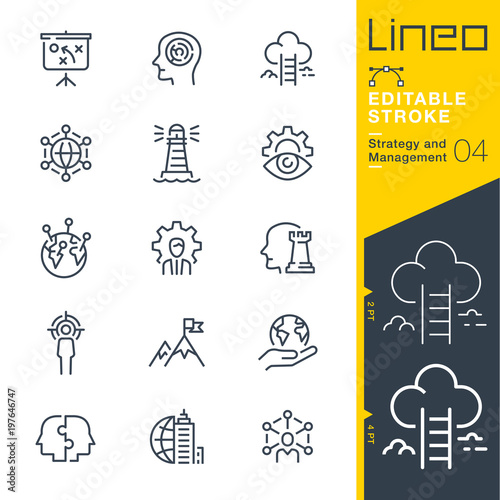 Obraz Lineo Editable Stroke - Strategy and Management outline icons - fototapety do salonu