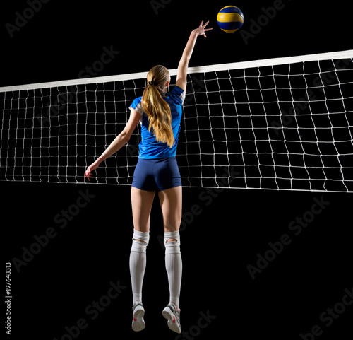 Woman volleyball player isolated (version with net and ball)