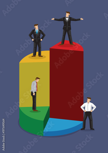 Fotomural Businessmen Stand on Different Levels of Pie Chart Vector Business Illustration