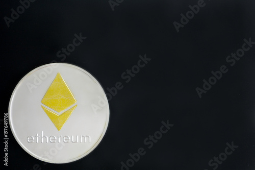 Spoed Foto op Canvas Klaar gerecht Ethereum coins on black background, copy space for text. Cryptocurrency smart contract technology concept photo.