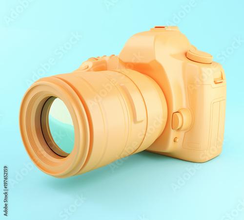 Fototapeta 3D Digital orange photo camera. obraz