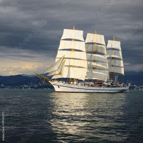 Sailing ship and storm sky. Yachting. Sailing © Alvov