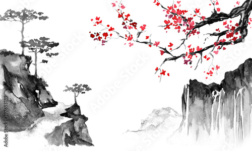 Garden Poster White Japan traditional sumi-e painting. Indian ink illustration. Japanese picture. Sakura and mountains