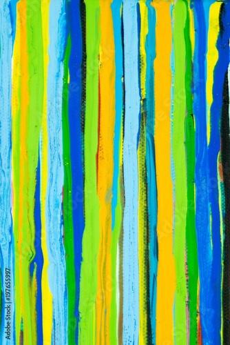 Bunte verlaufene Farbstreifen in blau, grün und orange, Gouache-Gemälde von Caro Canvas Print