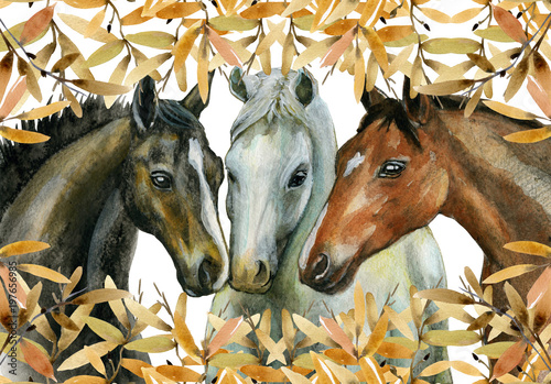 Watercolor illustration of horses decorated with branches