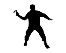 Person Throwing A Molotov Cocktail Silhouette