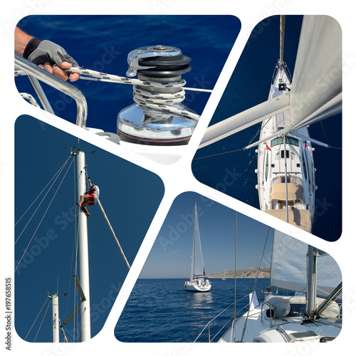 Photo collage sailing. Yachting. Cruises. Travel concept