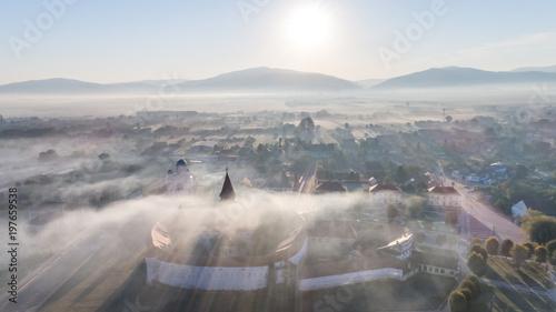 Garden Poster sunrise in Prejmer village. Brasov, Romania