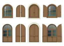 Vintage Wooden Window And Door With Shutters. Mediterranean Style. Traditional Architecture. Vector Graphics. Item Set.