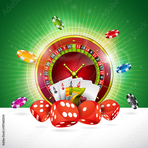 Casino Illustration with roulette wheel and playing chips on green background плакат