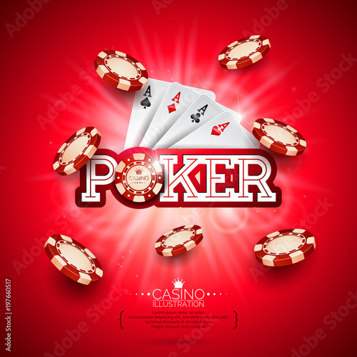 Casino Illustration with poker card and playing chips on red background плакат