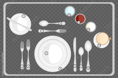 Dinner place setting, Table setting top view. Formal dinner with ...