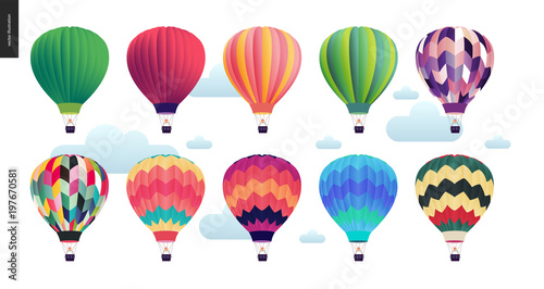 Valokuva Hot air balloons - set of various colored balloons in the sky with clouds