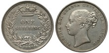 United Kingdom British Silver Coin 1 One Shilling 1839, Value In Words Flanked By Olive And Oak Branches, Crown Above, Date Below,  Head Of Queen Victoria Left,