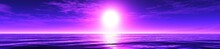 Violet Sunrise, Panorama Of The Sea Sunset 3D Rendering