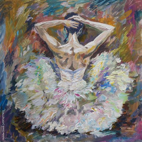 Fotografie, Obraz  Ballerina Painting Acrylic and Full spectrum on Canvas and Cardboard artist crea