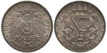 Germany, German Two Mark 1904, Bremen, Silver, Imperial Eagle, Lions Holding Shield With A Big Key On It, Trees On Top Of Shield, Inscriptions In German German State And Free City Bremen