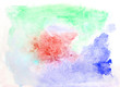 Multicolor handwork brush strokes on the white paper. Watercolour horizontal background completed with orange, yellow, green, blue and red colors.