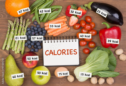 Photo Fruits and vegetables with calories labels