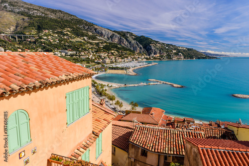 Aerial view of the sea coast with roofs of houses фототапет