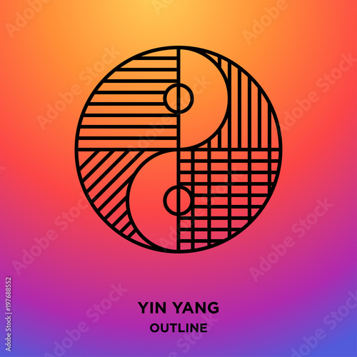 yin yang outline on purple background, divided to 4 sections Fototapeta