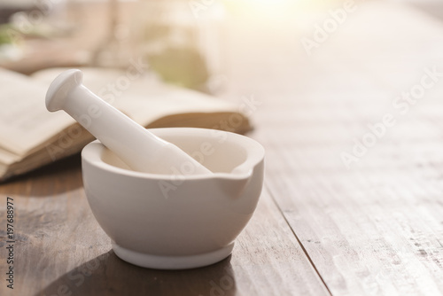 Poster Pharmacie Mortar and pestle on the pharmacist's table
