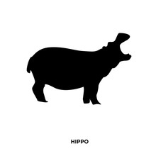 Hippo Silhouette On White Background, In Black,roaring