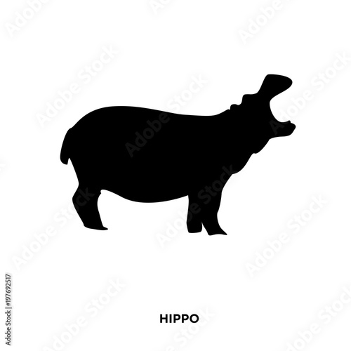 Valokuvatapetti hippo silhouette on white background, in black,roaring