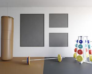 Mock up scene, 3d illustration , sport, gym, fitness rod,  room,  round,  scene,  sport,  stock,  template,  tile,  trainer