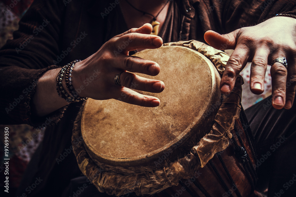 Fototapety, obrazy: ethnic percussion musical instrument jembe