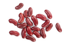 Red Kidney Bean Isolated On White Background. Top View. Flat Lay