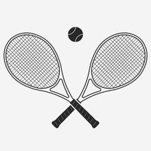 Tennis Racket And Ball, Vector