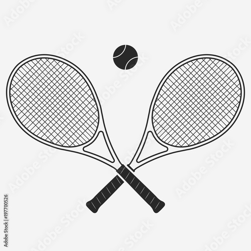 Canvas Print Tennis racket and ball, vector